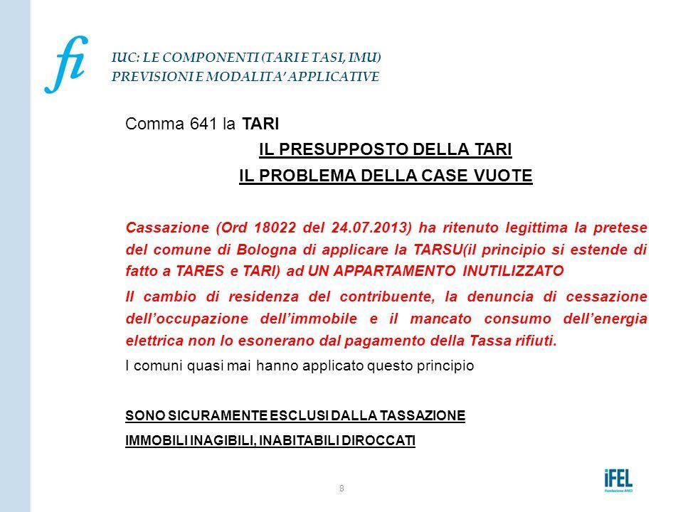 Comma 641 la TARI IL PRESUPPOSTO DELLA TARI IL PROBLEMA DELLA CASE VUOTE Cassazione (Ord 18022 del 24.07.2013) ha ritenuto legittima la pretese del co