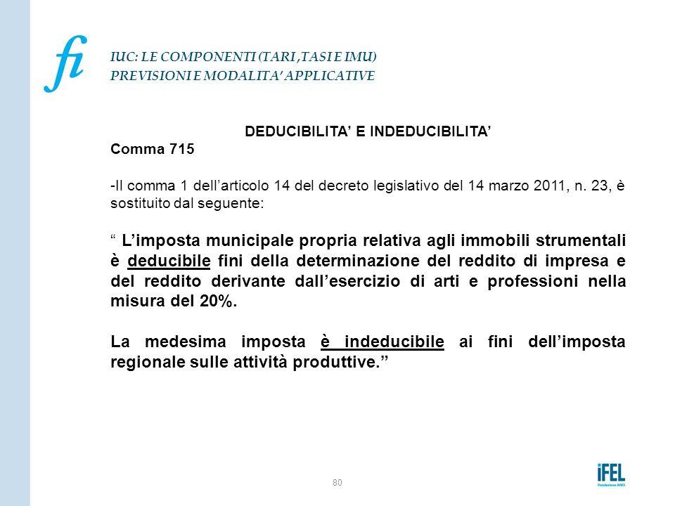 """DEDUCIBILITA' E INDEDUCIBILITA' Comma 715 -Il comma 1 dell'articolo 14 del decreto legislativo del 14 marzo 2011, n. 23, è sostituito dal seguente: """""""