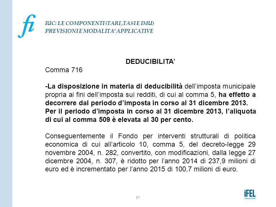 DEDUCIBILITA' Comma 716 -La disposizione in materia di deducibilità dell'imposta municipale propria ai fini dell'imposta sui redditi, di cui al comma