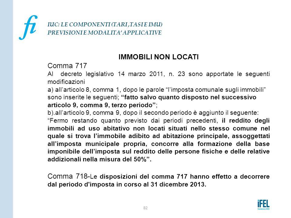 IMMOBILI NON LOCATI Comma 717 Al decreto legislativo 14 marzo 2011, n. 23 sono apportate le seguenti modificazioni a) all'articolo 8, comma 1, dopo le