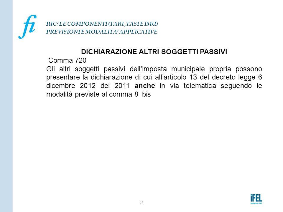 DICHIARAZIONE ALTRI SOGGETTI PASSIVI Comma 720 Gli altri soggetti passivi dell'imposta municipale propria possono presentare la dichiarazione di cui a