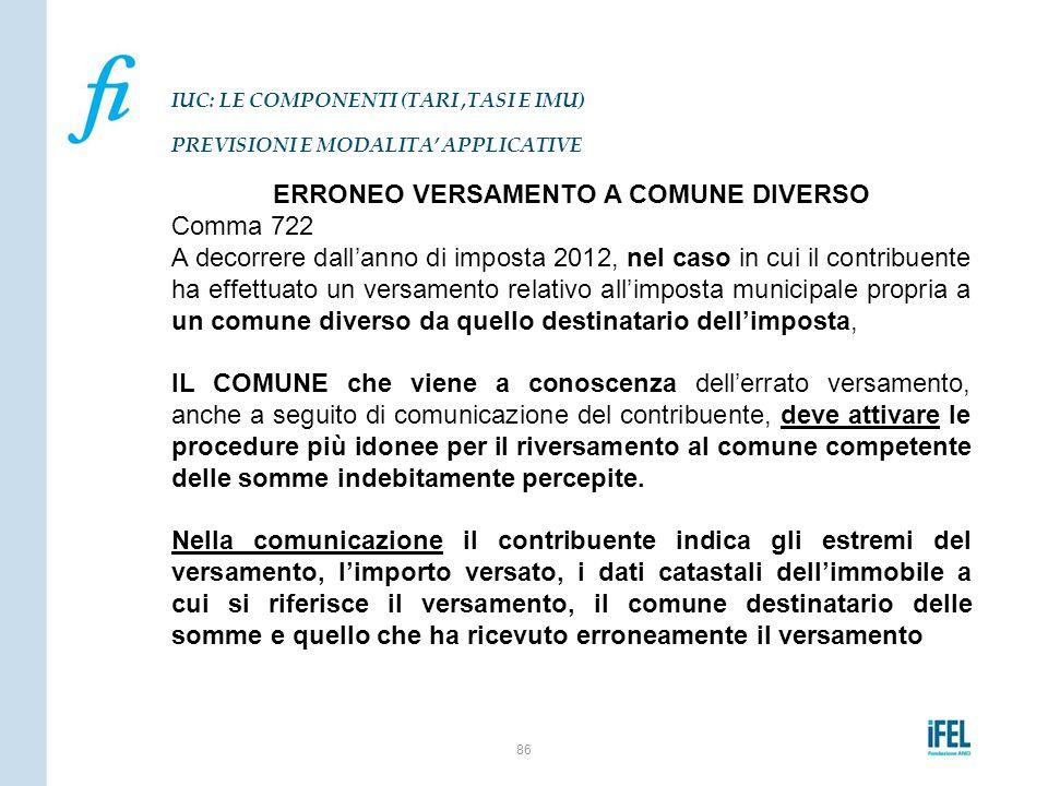 ERRONEO VERSAMENTO A COMUNE DIVERSO Comma 722 A decorrere dall'anno di imposta 2012, nel caso in cui il contribuente ha effettuato un versamento relat