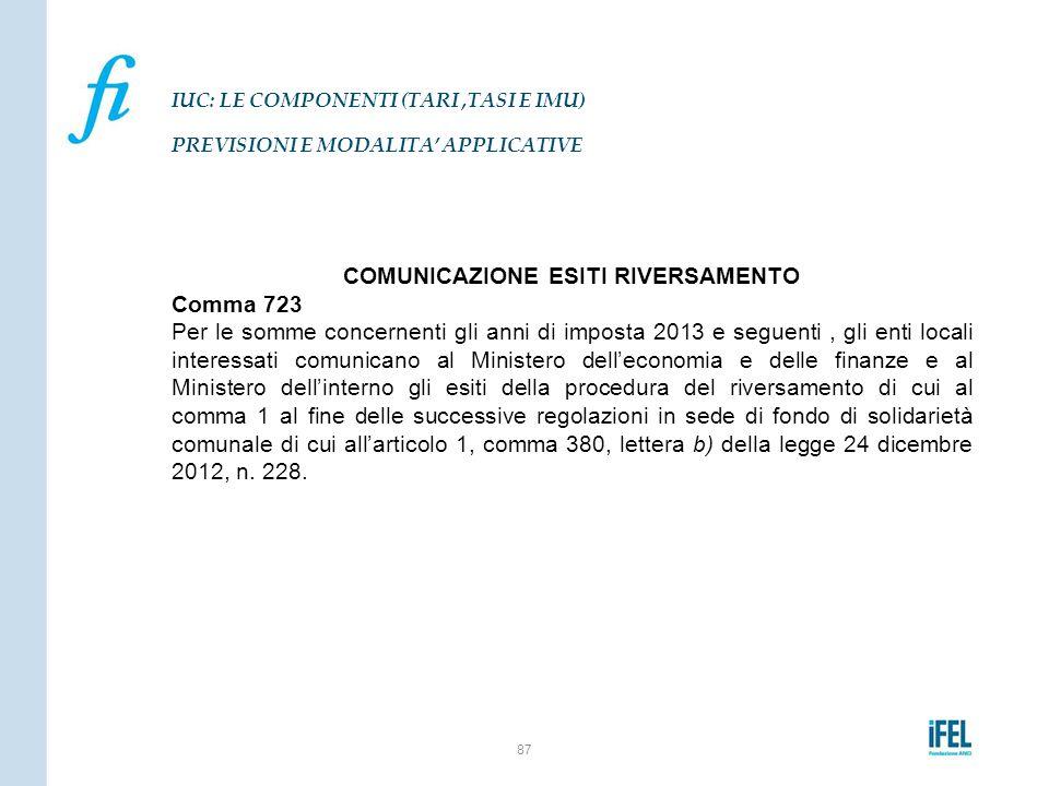 COMUNICAZIONE ESITI RIVERSAMENTO Comma 723 Per le somme concernenti gli anni di imposta 2013 e seguenti, gli enti locali interessati comunicano al Min