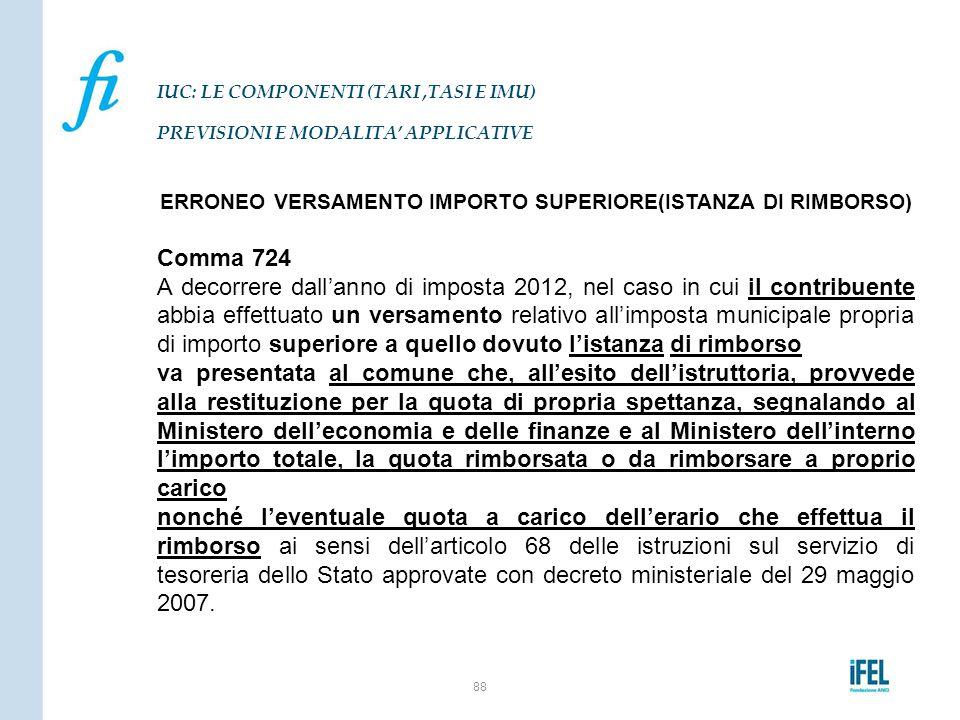 ERRONEO VERSAMENTO IMPORTO SUPERIORE(ISTANZA DI RIMBORSO) Comma 724 A decorrere dall'anno di imposta 2012, nel caso in cui il contribuente abbia effet