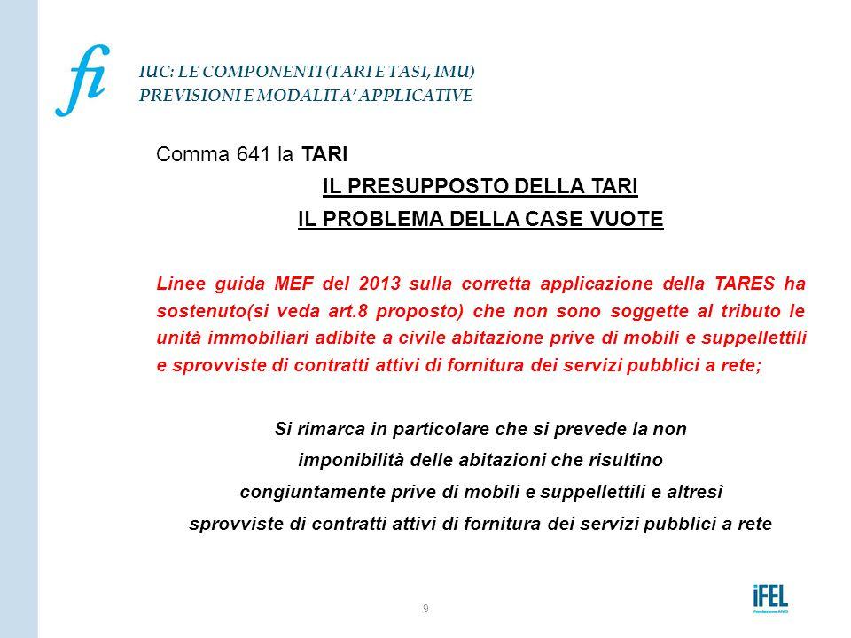 Comma 641 la TARI IL PRESUPPOSTO DELLA TARI IL PROBLEMA DELLA CASE VUOTE Linee guida MEF del 2013 sulla corretta applicazione della TARES ha sostenuto