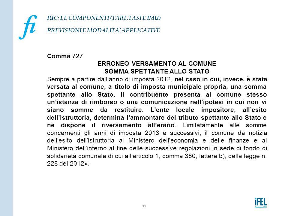 Comma 727 ERRONEO VERSAMENTO AL COMUNE SOMMA SPETTANTE ALLO STATO Sempre a partire dall'anno di imposta 2012, nel caso in cui, invece, è stata versata
