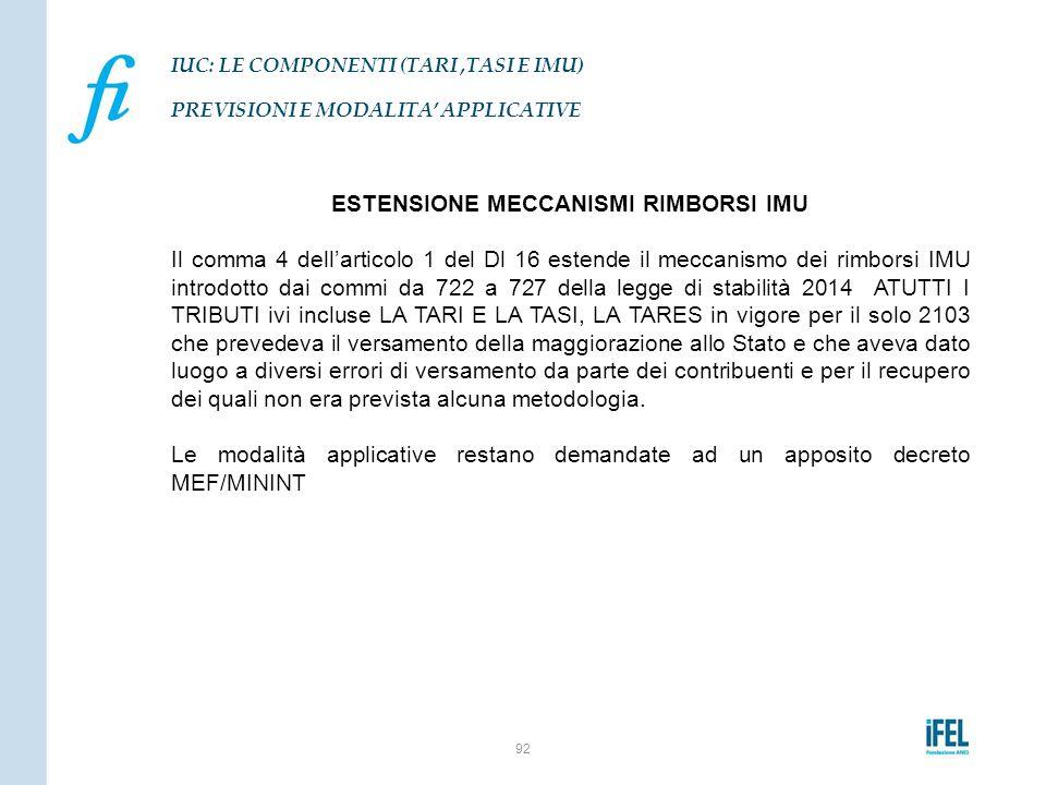 ESTENSIONE MECCANISMI RIMBORSI IMU Il comma 4 dell'articolo 1 del Dl 16 estende il meccanismo dei rimborsi IMU introdotto dai commi da 722 a 727 della