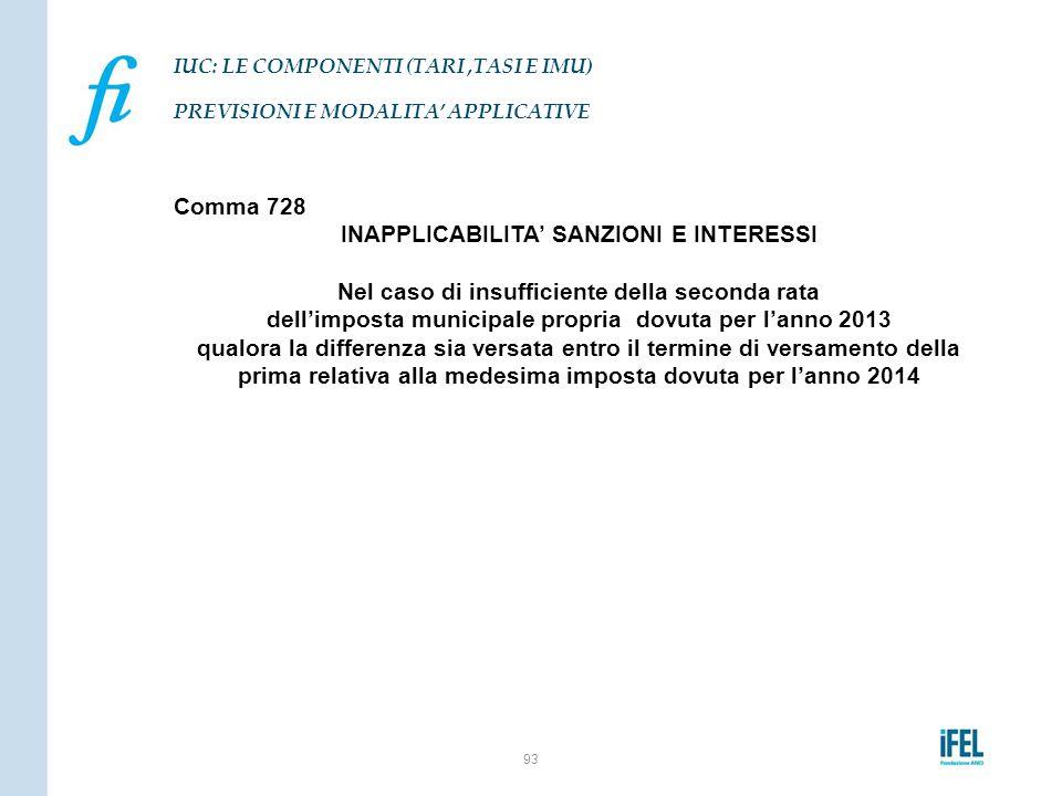 Comma 728 INAPPLICABILITA' SANZIONI E INTERESSI Nel caso di insufficiente della seconda rata dell'imposta municipale propria dovuta per l'anno 2013 qu