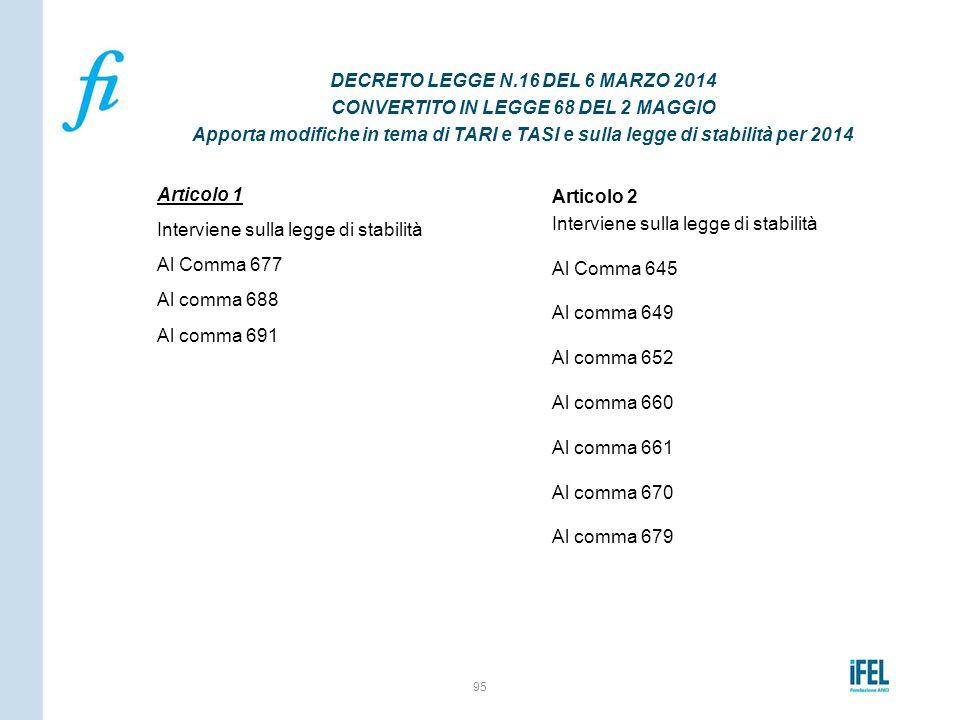 Articolo 1 Interviene sulla legge di stabilità Al Comma 677 Al comma 688 Al comma 691 95 DECRETO LEGGE N.16 DEL 6 MARZO 2014 CONVERTITO IN LEGGE 68 DE