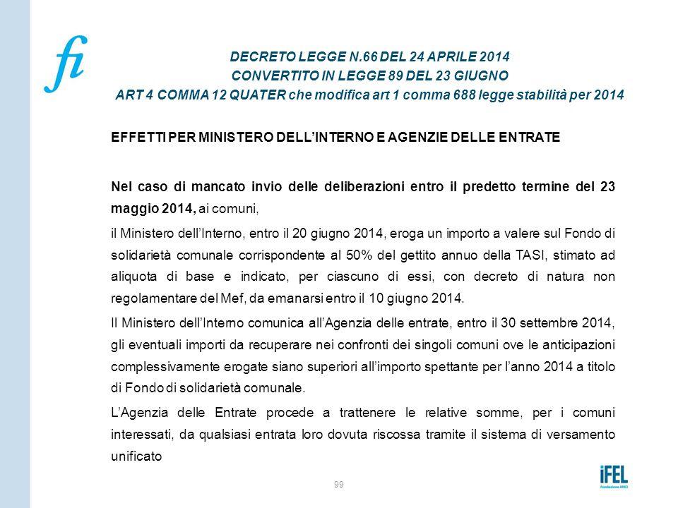 EFFETTI PER MINISTERO DELL'INTERNO E AGENZIE DELLE ENTRATE Nel caso di mancato invio delle deliberazioni entro il predetto termine del 23 maggio 2014,