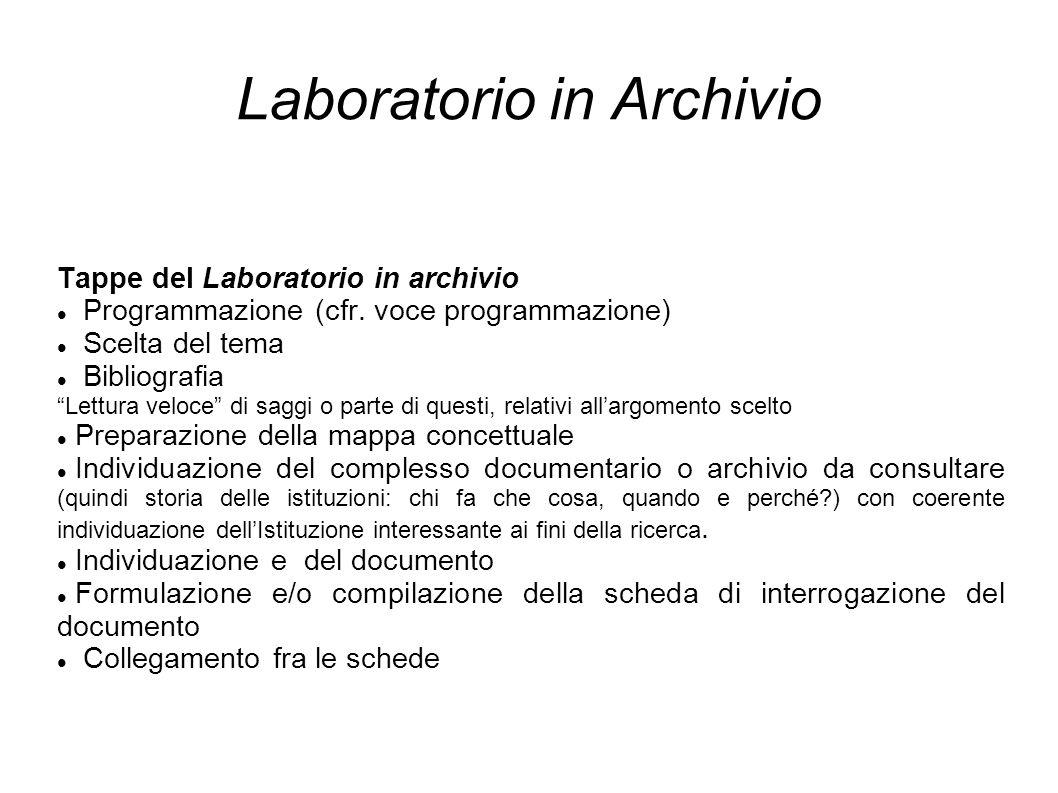 Laboratorio in Archivio Tappe del Laboratorio in archivio Programmazione (cfr.