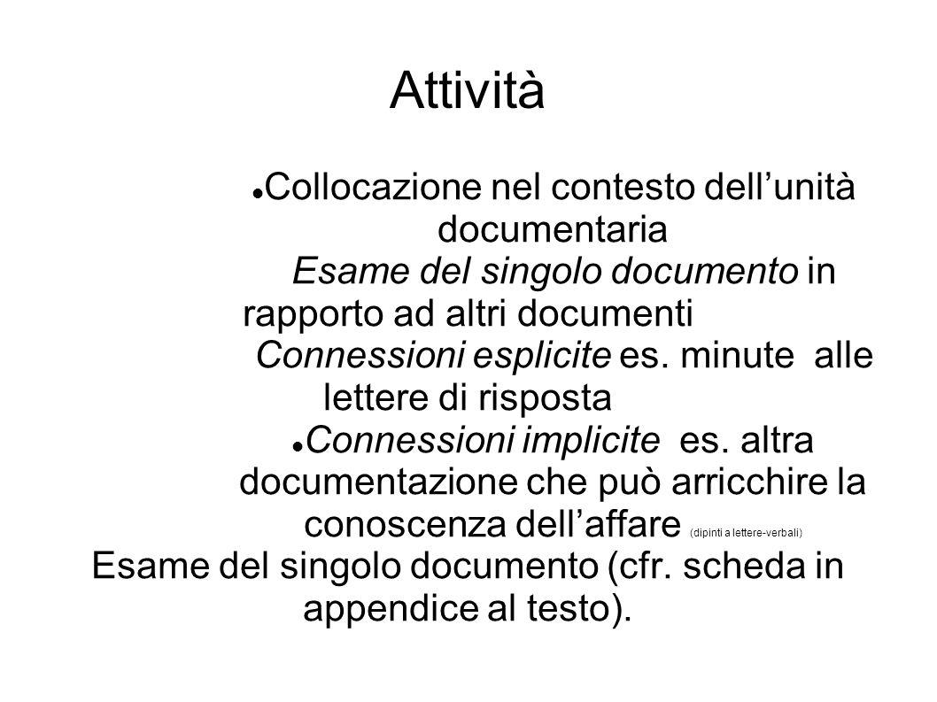 Attività Collocazione nel contesto dell'unità documentaria Esame del singolo documento in rapporto ad altri documenti Connessioni esplicite es.