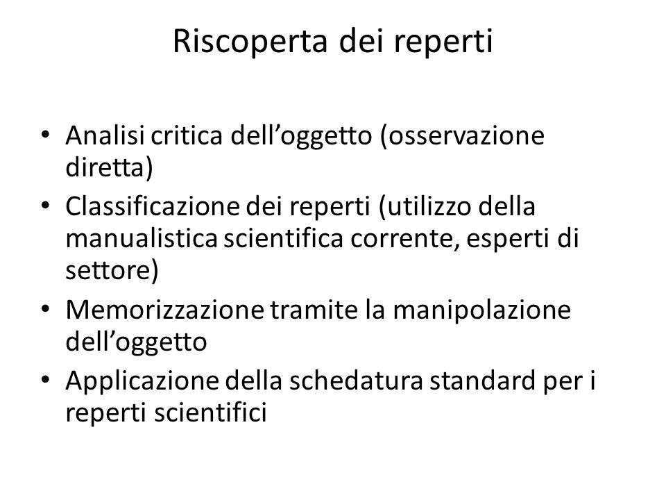 Riscoperta dei reperti Analisi critica dell'oggetto (osservazione diretta) Classificazione dei reperti (utilizzo della manualistica scientifica corren