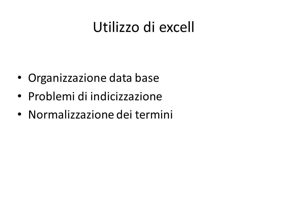 Utilizzo di excell Organizzazione data base Problemi di indicizzazione Normalizzazione dei termini