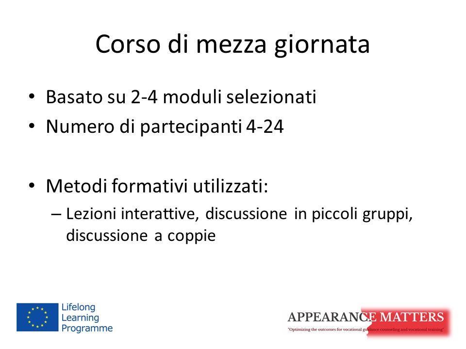 Corso di mezza giornata Basato su 2-4 moduli selezionati Numero di partecipanti 4-24 Metodi formativi utilizzati: – Lezioni interattive, discussione in piccoli gruppi, discussione a coppie