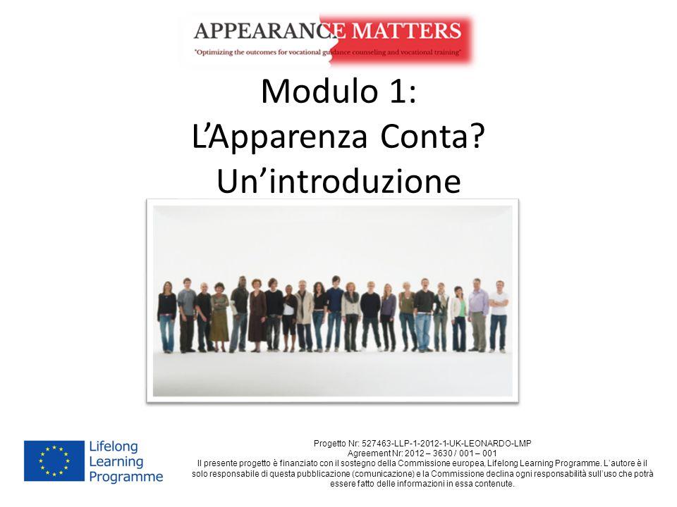 Modulo 1: L'Apparenza Conta? Un'introduzione Progetto Nr: 527463-LLP-1-2012-1-UK-LEONARDO-LMP Agreement Nr: 2012 – 3630 / 001 – 001 Il presente proget