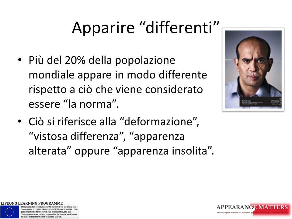Apparire differenti Più del 20% della popolazione mondiale appare in modo differente rispetto a ciò che viene considerato essere la norma .
