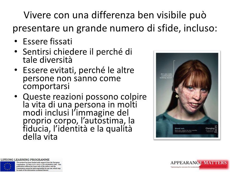 Vivere con una differenza ben visibile può presentare un grande numero di sfide, incluso: Essere fissati Sentirsi chiedere il perché di tale diversità