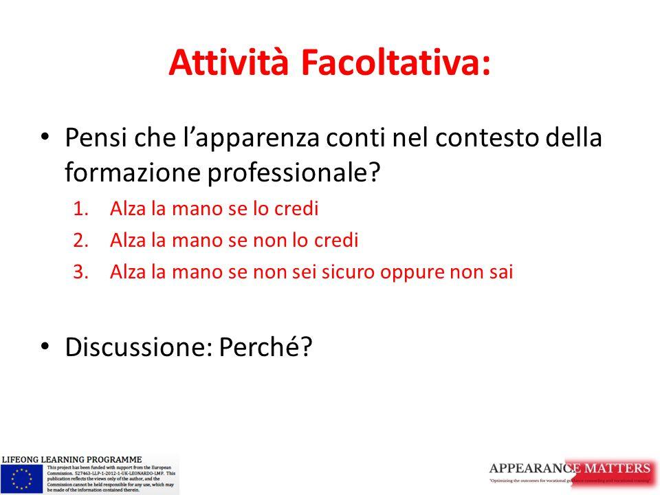 Attività Facoltativa: Pensi che l'apparenza conti nel contesto della formazione professionale? 1.Alza la mano se lo credi 2.Alza la mano se non lo cre