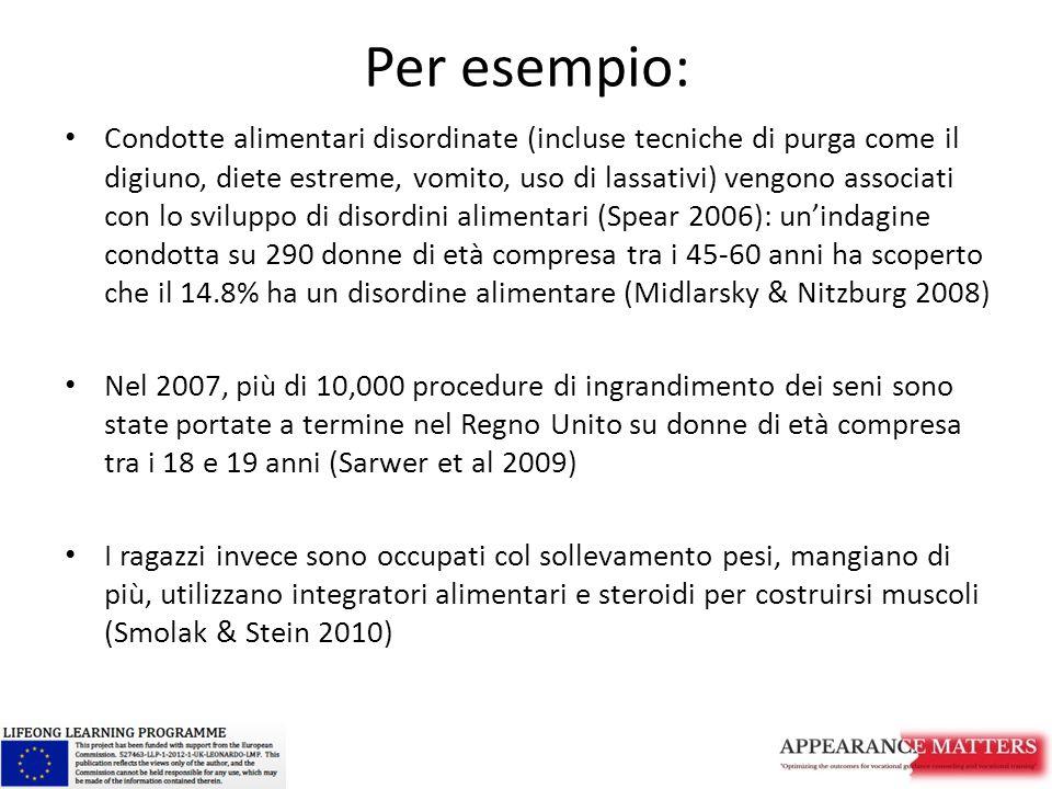 Per esempio: Condotte alimentari disordinate (incluse tecniche di purga come il digiuno, diete estreme, vomito, uso di lassativi) vengono associati con lo sviluppo di disordini alimentari (Spear 2006): un'indagine condotta su 290 donne di età compresa tra i 45-60 anni ha scoperto che il 14.8% ha un disordine alimentare (Midlarsky & Nitzburg 2008) Nel 2007, più di 10,000 procedure di ingrandimento dei seni sono state portate a termine nel Regno Unito su donne di età compresa tra i 18 e 19 anni (Sarwer et al 2009) I ragazzi invece sono occupati col sollevamento pesi, mangiano di più, utilizzano integratori alimentari e steroidi per costruirsi muscoli (Smolak & Stein 2010)