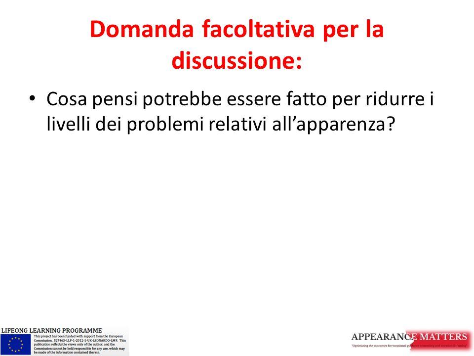 Domanda facoltativa per la discussione: Cosa pensi potrebbe essere fatto per ridurre i livelli dei problemi relativi all'apparenza?