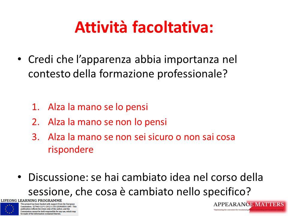 Attività facoltativa: Credi che l'apparenza abbia importanza nel contesto della formazione professionale? 1.Alza la mano se lo pensi 2.Alza la mano se