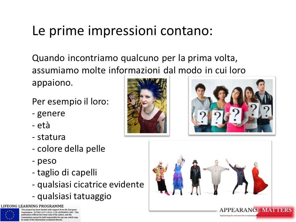 Le prime impressioni contano: Quando incontriamo qualcuno per la prima volta, assumiamo molte informazioni dal modo in cui loro appaiono. Per esempio