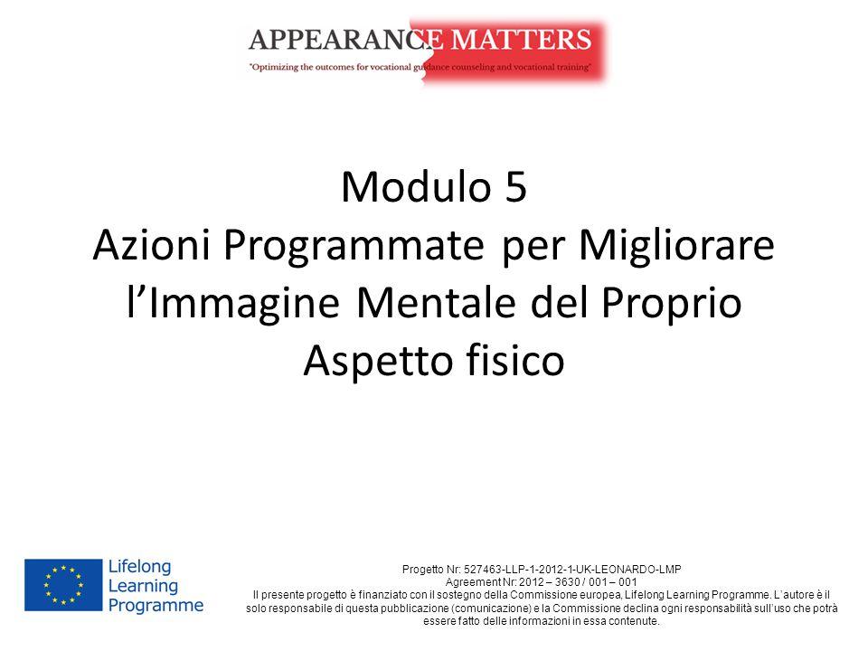 Modulo 5 Azioni Programmate per Migliorare l'Immagine Mentale del Proprio Aspetto fisico Progetto Nr: 527463-LLP-1-2012-1-UK-LEONARDO-LMP Agreement Nr: 2012 – 3630 / 001 – 001 Il presente progetto è finanziato con il sostegno della Commissione europea, Lifelong Learning Programme.