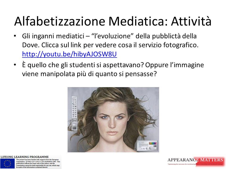 """Alfabetizzazione Mediatica: Attività Gli inganni mediatici – """"l'evoluzione"""" della pubblictà della Dove. Clicca sul link per vedere cosa il servizio fo"""