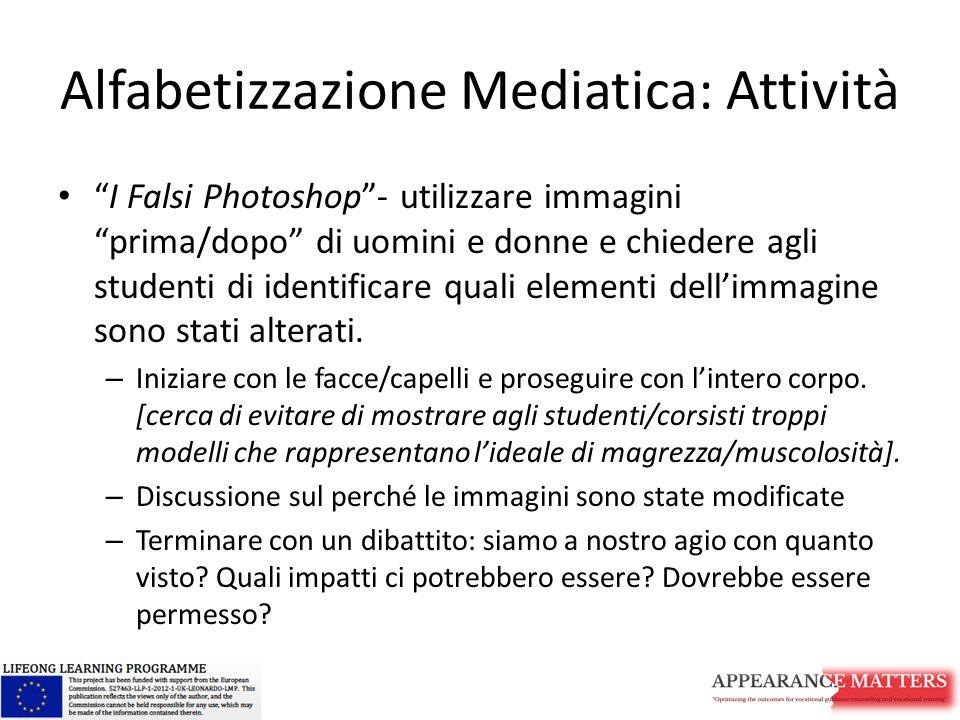 Alfabetizzazione Mediatica: Attività I Falsi Photoshop - utilizzare immagini prima/dopo di uomini e donne e chiedere agli studenti di identificare quali elementi dell'immagine sono stati alterati.