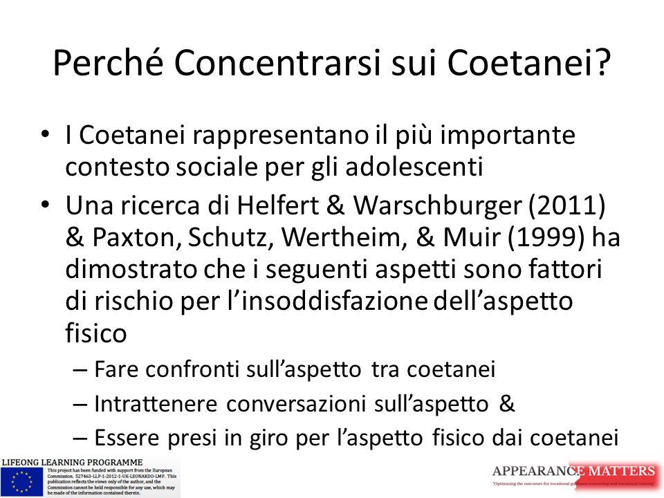 Perché Concentrarsi sui Coetanei? I Coetanei rappresentano il più importante contesto sociale per gli adolescenti Una ricerca di Helfert & Warschburge