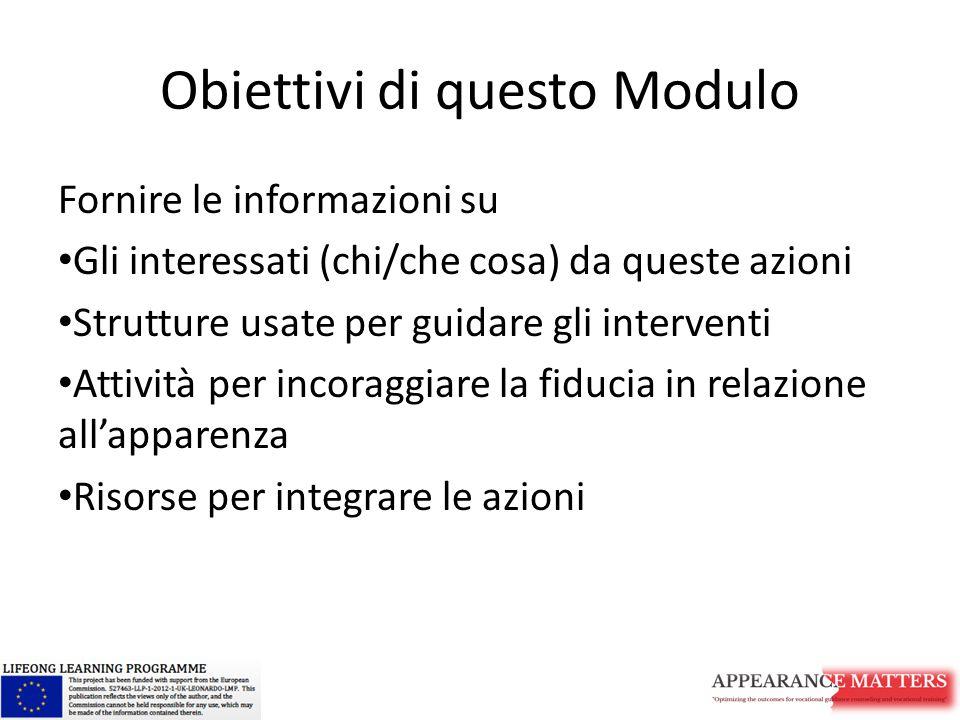 Obiettivi di questo Modulo Fornire le informazioni su Gli interessati (chi/che cosa) da queste azioni Strutture usate per guidare gli interventi Attività per incoraggiare la fiducia in relazione all'apparenza Risorse per integrare le azioni