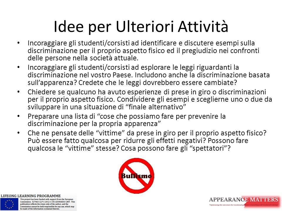 Idee per Ulteriori Attività Incoraggiare gli studenti/corsisti ad identificare e discutere esempi sulla discriminazione per il proprio aspetto fisico
