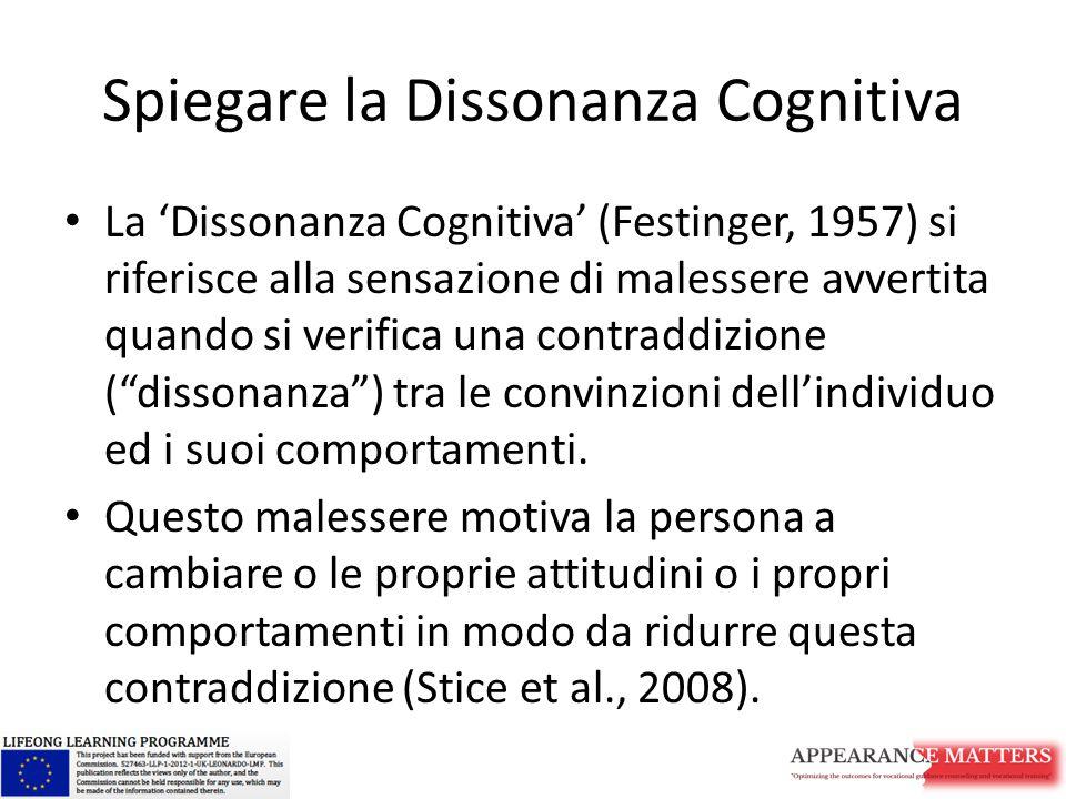 Spiegare la Dissonanza Cognitiva La 'Dissonanza Cognitiva' (Festinger, 1957) si riferisce alla sensazione di malessere avvertita quando si verifica una contraddizione ( dissonanza ) tra le convinzioni dell'individuo ed i suoi comportamenti.
