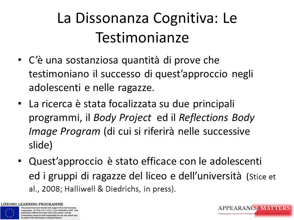 La Dissonanza Cognitiva: Le Testimonianze C'è una sostanziosa quantità di prove che testimoniano il successo di quest'approccio negli adolescenti e nelle ragazze.