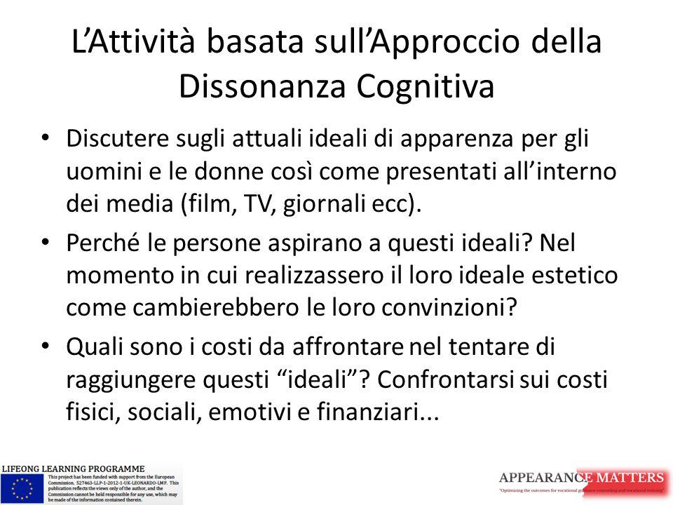 L'Attività basata sull'Approccio della Dissonanza Cognitiva Discutere sugli attuali ideali di apparenza per gli uomini e le donne così come presentati