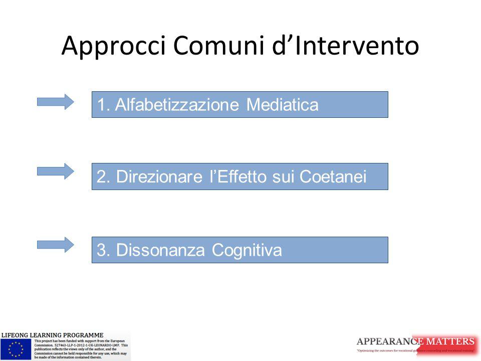 Approcci Comuni d'Intervento 1. Alfabetizzazione Mediatica 2. Direzionare l'Effetto sui Coetanei 3. Dissonanza Cognitiva