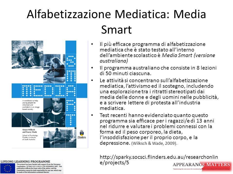 Alfabetizzazione Mediatica: Media Smart Il più efficace programma di alfabetizzazione mediatica che è stato testato all'interno dell'ambiente scolastico è Media Smart (versione australiana) Il programma australiano che consiste in 8 lezioni di 50 minuti ciascuna.