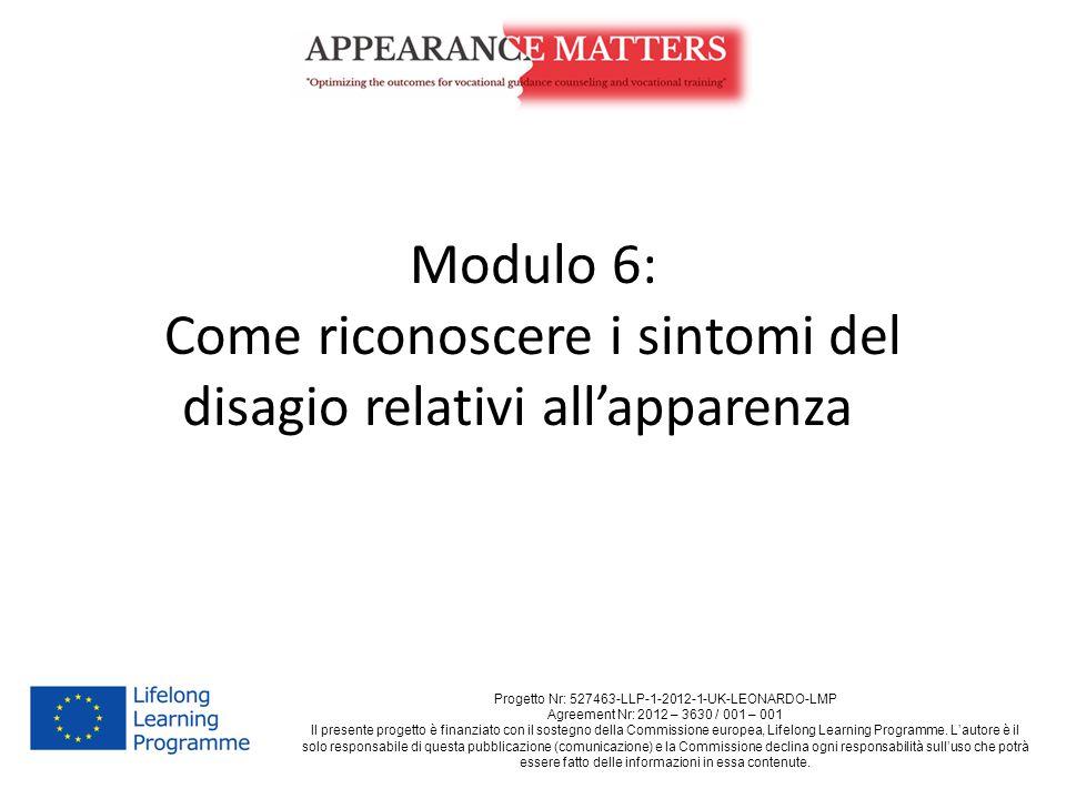 Modulo 6: Come riconoscere i sintomi del disagio relativi all'apparenza Progetto Nr: 527463-LLP-1-2012-1-UK-LEONARDO-LMP Agreement Nr: 2012 – 3630 / 0