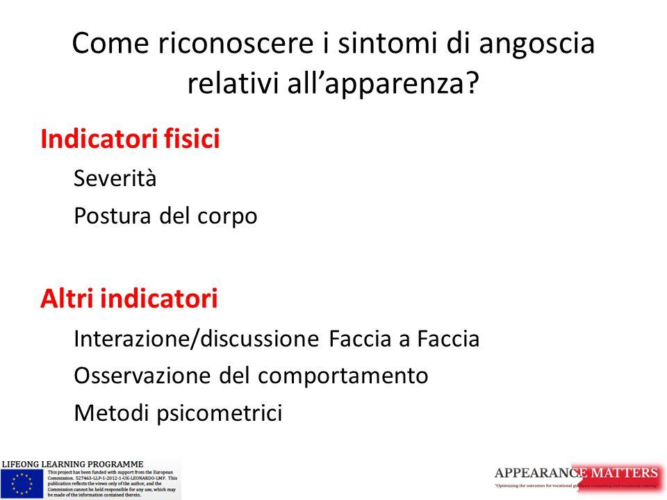 Come riconoscere i sintomi di angoscia relativi all'apparenza? Indicatori fisici Severità Postura del corpo Altri indicatori Interazione/discussione F