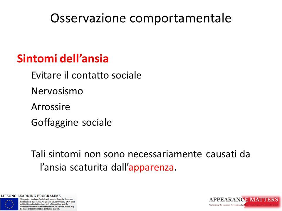 Osservazione comportamentale Sintomi dell'ansia Evitare il contatto sociale Nervosismo Arrossire Goffaggine sociale Tali sintomi non sono necessariame