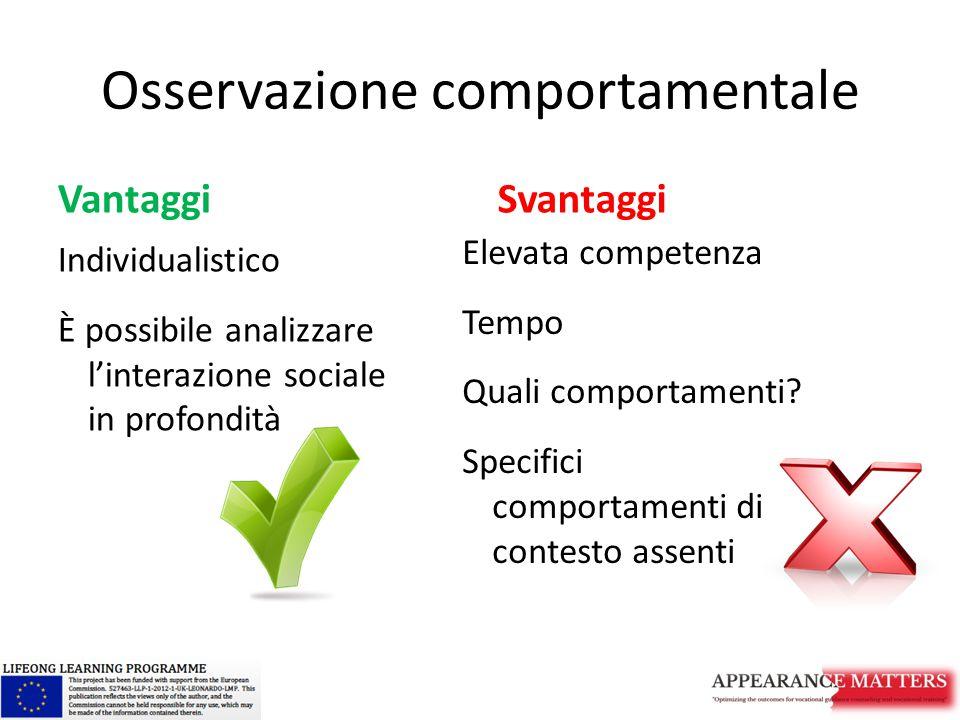 Osservazione comportamentale Vantaggi Individualistico È possibile analizzare l'interazione sociale in profondità Svantaggi Elevata competenza Tempo Q