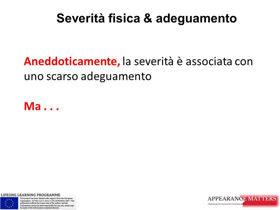 Severità fisica & adeguamento Aneddoticamente, la severità è associata con uno scarso adeguamento Ma...