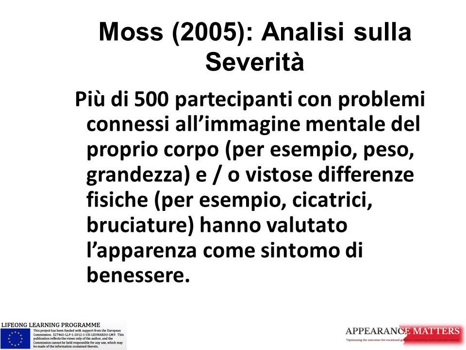Moss (2005): Analisi sulla Severità Più di 500 partecipanti con problemi connessi all'immagine mentale del proprio corpo (per esempio, peso, grandezza