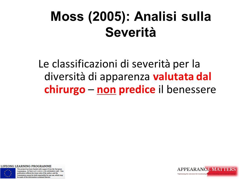 Moss (2005): Analisi sulla Severità Le classificazioni di severità per la diversità di apparenza valutata dal chirurgo – non predice il benessere