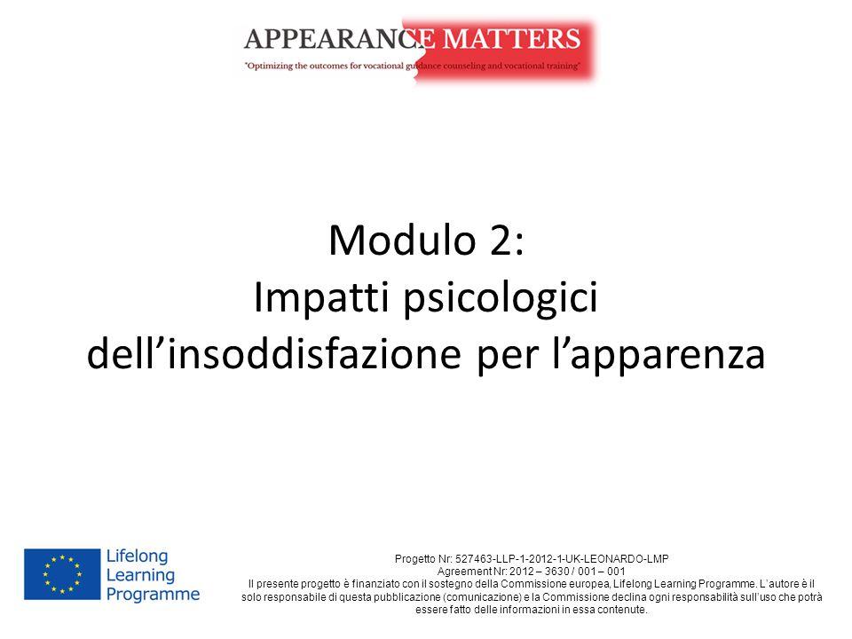 Modulo 2: Impatti psicologici dell'insoddisfazione per l'apparenza Progetto Nr: 527463-LLP-1-2012-1-UK-LEONARDO-LMP Agreement Nr: 2012 – 3630 / 001 – 001 Il presente progetto è finanziato con il sostegno della Commissione europea, Lifelong Learning Programme.