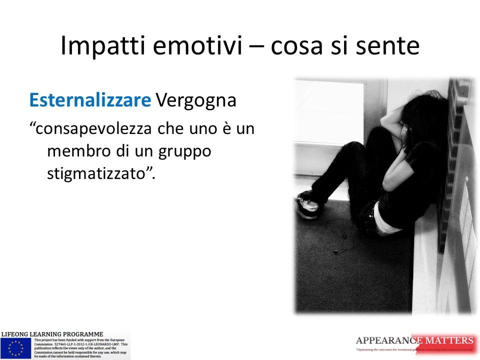 Impatti emotivi – cosa si sente Esternalizzare Vergogna consapevolezza che uno è un membro di un gruppo stigmatizzato .