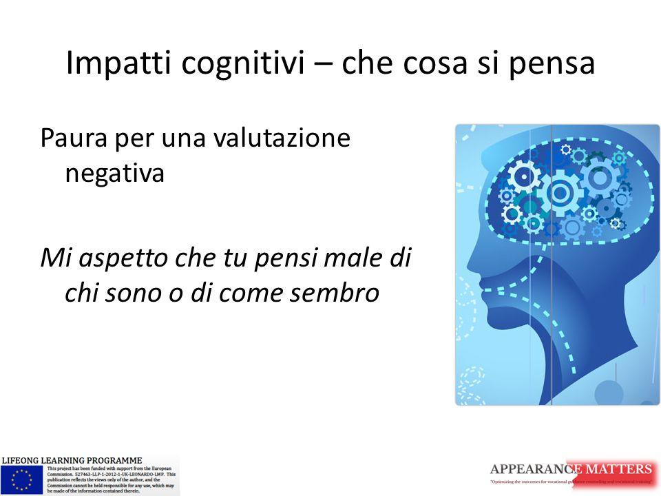 Impatti cognitivi – che cosa si pensa Paura per una valutazione negativa Mi aspetto che tu pensi male di chi sono o di come sembro