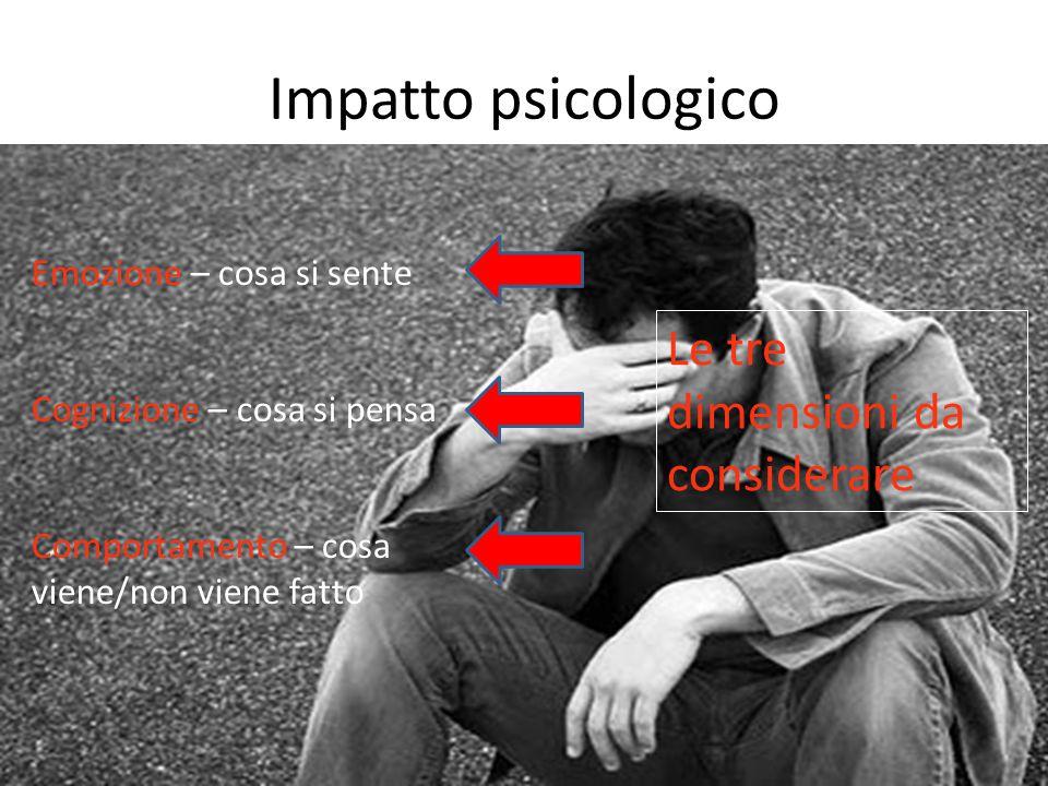 Impatto psicologico Emozione – cosa si sente Cognizione – cosa si pensa Comportamento – cosa viene/non viene fatto Le tre dimensioni da considerare