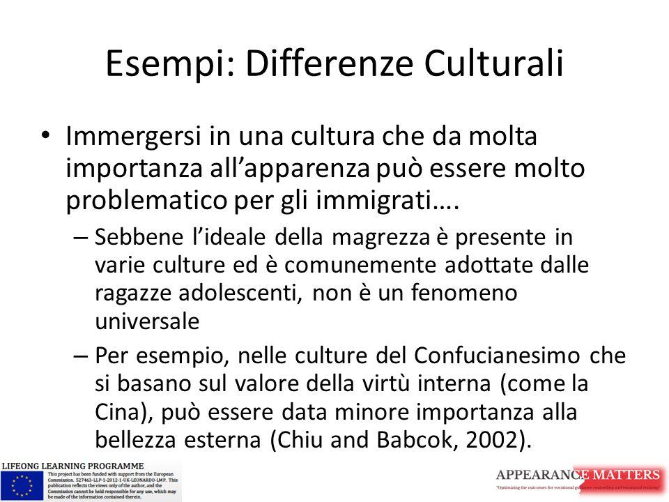 Esempi: Differenze Culturali Immergersi in una cultura che da molta importanza all'apparenza può essere molto problematico per gli immigrati…. – Sebbe